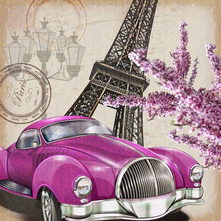 Paris vintage poster. Иллюстрация