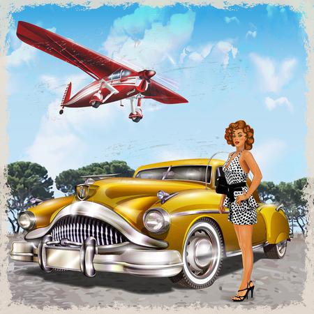 Fondo de la vendimia con el biplano, chica pin-up y retro coche. Ilustración de vector