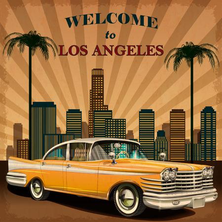 로스 앤젤레스 복고풍 포스터에 오신 것을 환영합니다. 일러스트