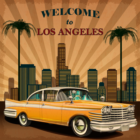 Welcome to Los Angeles retro poster. Illustration