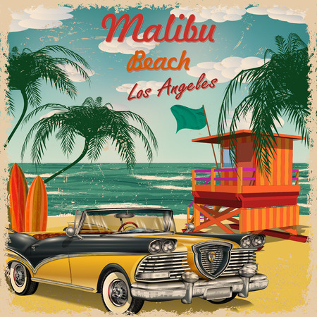 touristy: Malibu Beach, California retro poster.