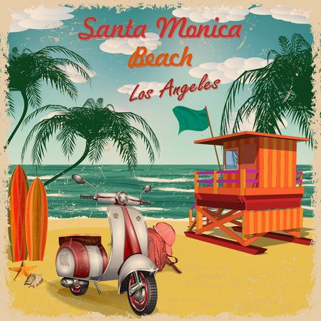 Santa Monica Beach, California retro poster. Vektoros illusztráció