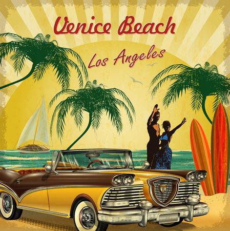 베니스 비치, 캘리포니아 복고풍 포스터에 오신 것을 환영합니다. 스톡 콘텐츠 - 71337748