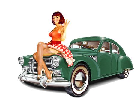 Pin-up girl en retro auto op een witte achtergrond