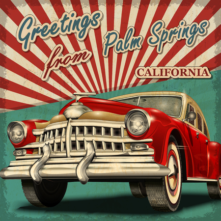 Vintage touristic greeting card with retro car. Palm springs. California. Çizim