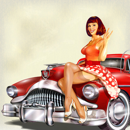 artificial model: Vintage background with pin-up girl and retro car.