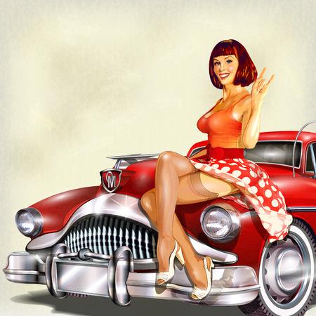 pin up vintage: Vintage sfondo con ragazza pin-up e auto retrò. Vettoriali