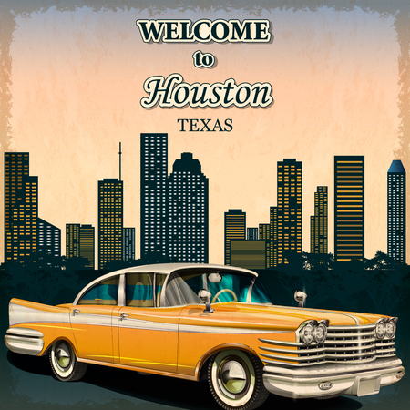 Welcome to Houston retro poster.