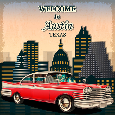 old postcards: Welcome to Austin retro poster.