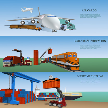 Transport logistics, set of maritime, rail and air transport delivery services. Illustration