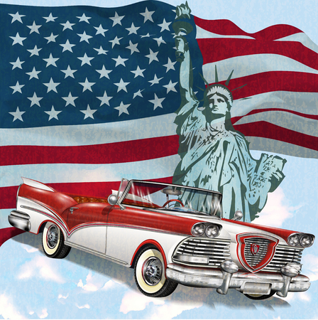 Vector abstract illustration of a waving US flag and retro car.