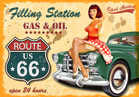 Tankstelle Retro- Fahne Standard-Bild - 73326534