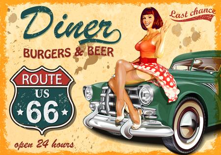 Diner route 66 affiche vintage Banque d'images - 73324963