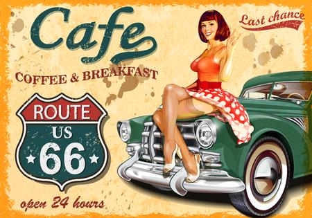 Affiche vintage de la route 66 du café Banque d'images - 73396402