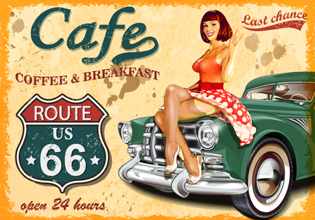 Cafe route 66 vintage poster Vectores