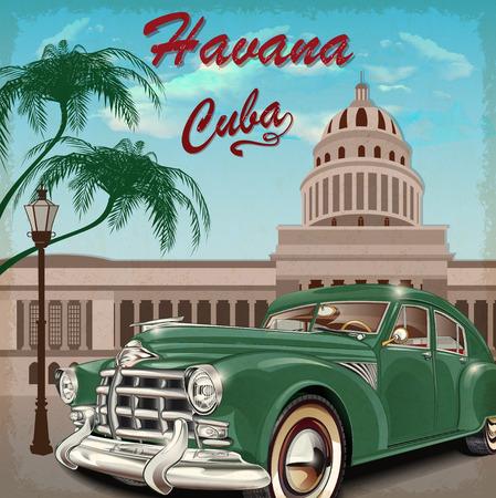 Cuba cartel retro. Ilustración de vector