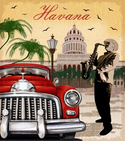 Plakat retro Hawana. Ilustracje wektorowe