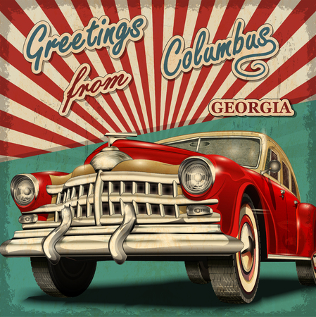 old postcards: Vintage touristic greeting card with retro car.Columbus.Georgia. Illustration