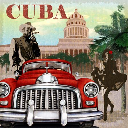 сбор винограда: Куба ретро плакат.