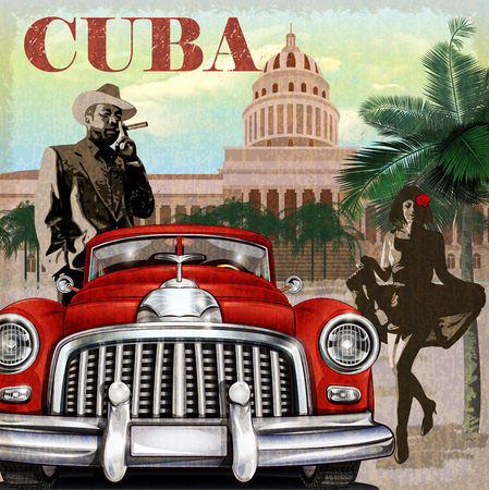 vintage: Kuba retro plakat.