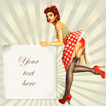 Sexy pin-up girl with vintage frame and place for text