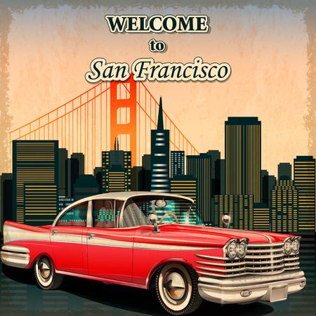 샌프란시스코 복고풍 포스터에 오신 것을 환영합니다.