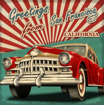 レトロな車でビンテージ観光グリーティング カード。サンフランシスコ。カリフォルニア州。