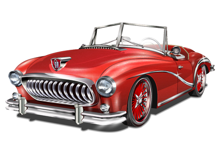 Vintage red car. Illustration