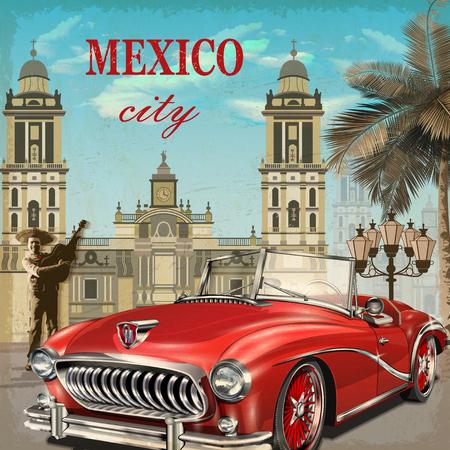 Cartel retro de México. Ilustración de vector