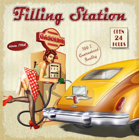 Filling Station affiche rétro Vecteurs