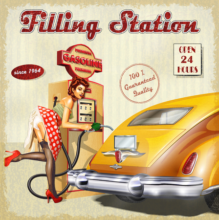 sexy stockings: Filling station retro poster