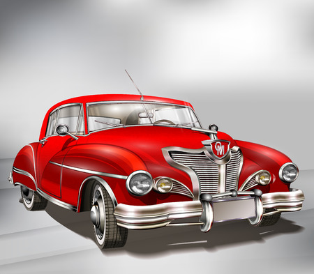 Retro red car on gray background. Çizim