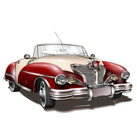 Retro car on white background.
