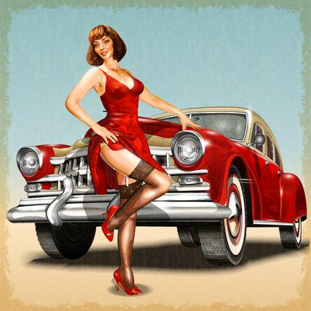 Fondo de la vendimia con la muchacha del perno-para arriba y el coche retro.