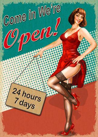 Vintage poster - Come in were open. Illustration