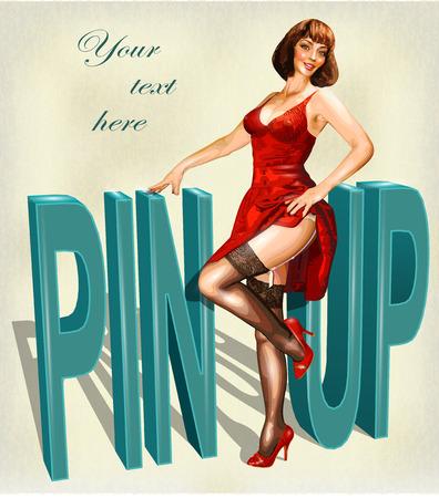 Cartel del vintage con el Pin encima de la muchacha. Foto de archivo - 75890095