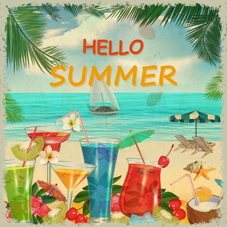Hello summer vintage poster. Ilustração