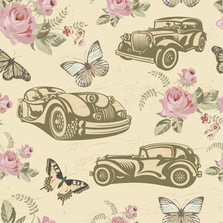 Seamless vintage car background. 向量圖像