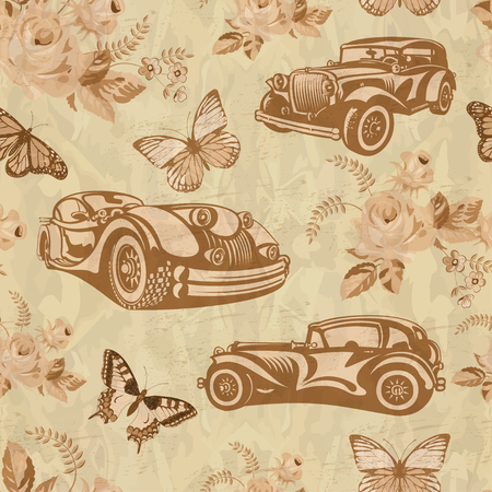 Seamless vintage car background. Stock Vector - 82650470