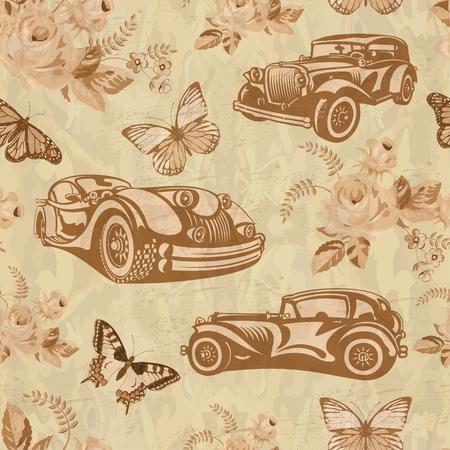 Seamless vintage car background. Illustration