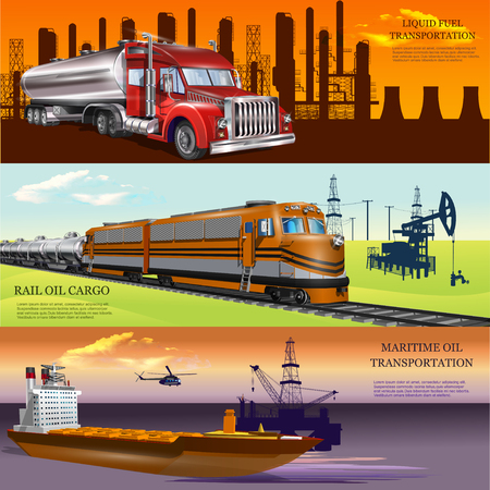 Logistical concept of extraction and oil transportation. Illustration