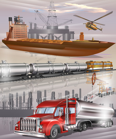 Oil tanker, tanks with oil and fuel transport by rail, fuel tanker truck, oil transport logistics. Illustration