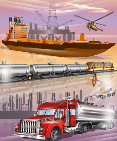 Oil tanker, tanks with oil and fuel transport by rail, fuel tanker truck, oil transport logistics. Stock Vector - 78842490