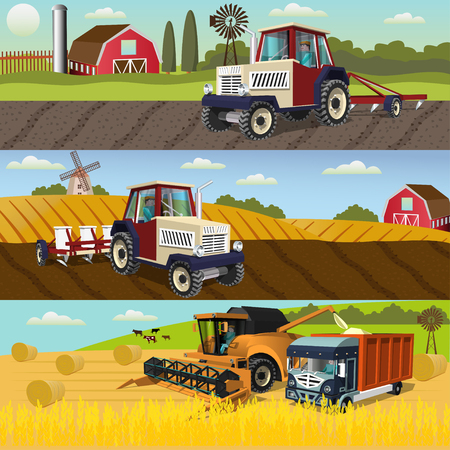 農業のデザインと成長や収穫作物、農業機械のプロセスの概念セット。