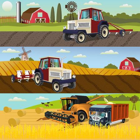 Koncepcja projektu rolnictwa z procesem uprawy i zbioru upraw, maszyn rolniczych.