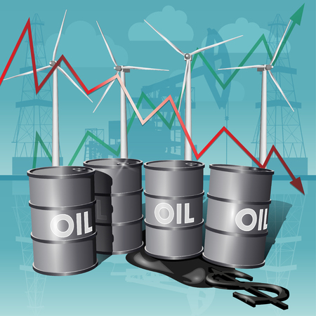 oilwell: Crisis concept oil extraction, drop in crude oil prices on background. Alternative Energy Sources.