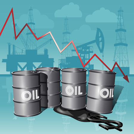 Crisis concept oil extraction, drop in crude oil prices. Illustration