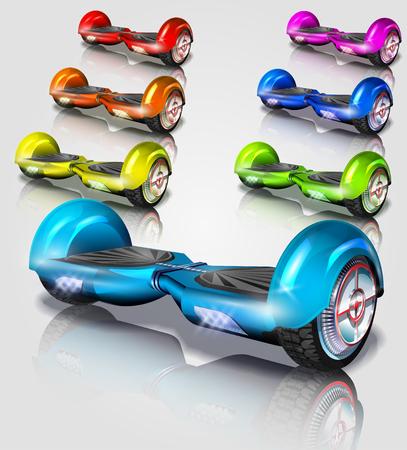 Set of Hoverboard vector illustration