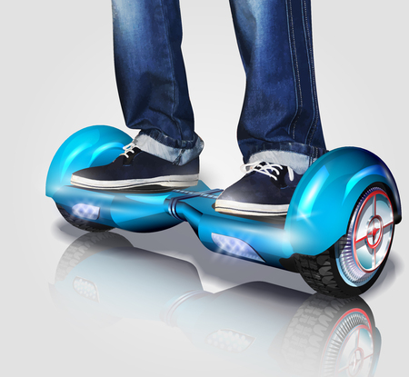 Vector illustration of man riding a hoverboard.