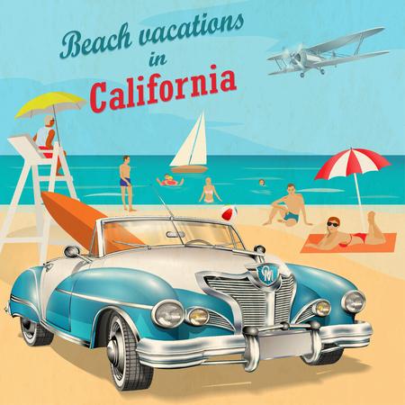 캘리포니아 휴가 해변 복고풍 포스터입니다. 일러스트